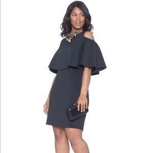 Cold shoulder flounce sleeve dress